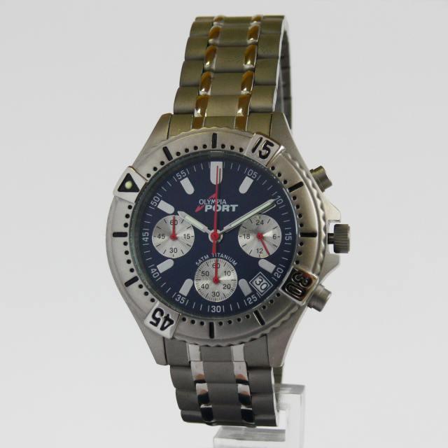 Luxusní pánské titanové hodinky Olympia 10112 s chronografem 5ATM
