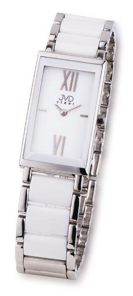 Dámské luxusní bílé keramické báramkové hodinky JVD steel W23.2 (bílá keramika)