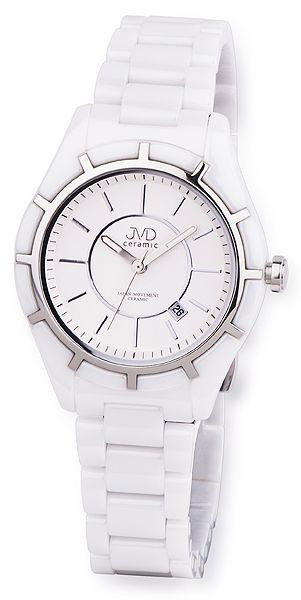 Luxusní bílé společenské keramické náramkové hodinky JVD ceramic J6007.1 (POŠTOVNÉ ZDRAMA!!)