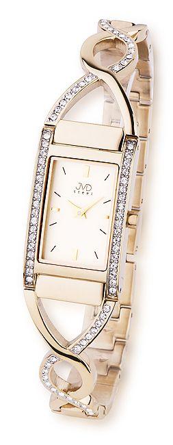 Zlacené dámské luxusní náramkové hodinky JVD steel JA095.3
