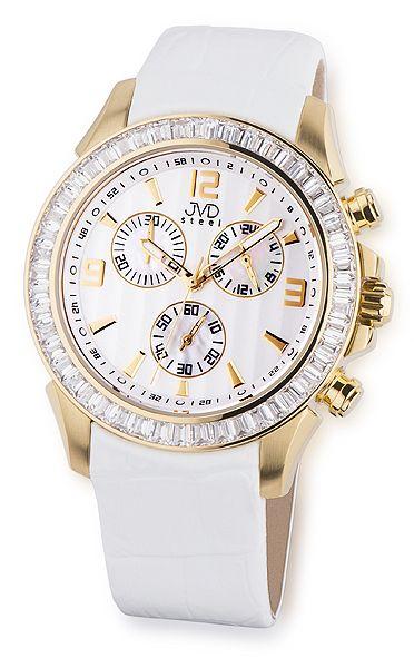 Vodotěsné ocelové chronografy bílé hodinky JVD steel C2089.3 UNISEX 10ATM
