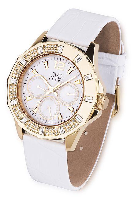 Dámské kožené zlaté náramkové hodinky JVD steel J1046.3