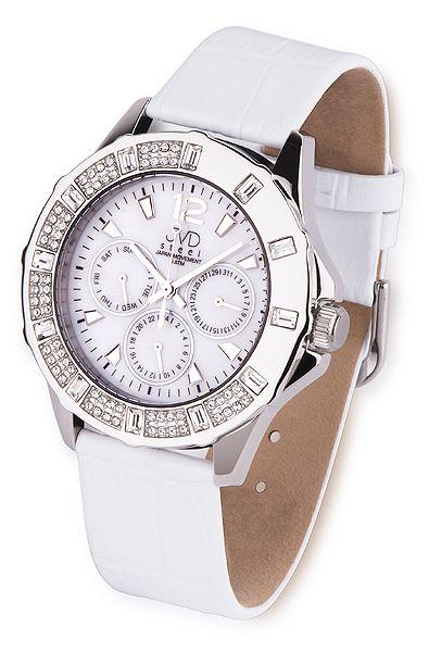 Dámské kožené bílé náramkové hodinky JVD steel J1046.1
