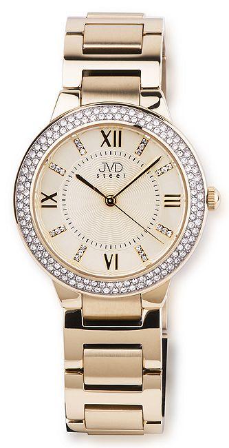 Elegantní šperkové dámské zlaté hodinky JVD steel JA045.2 s fasovanými zirkony