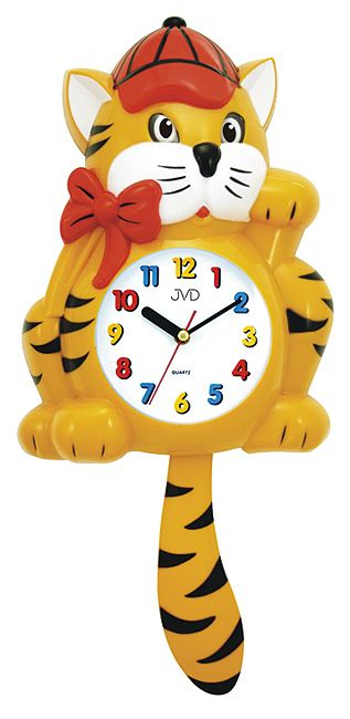 Dětské nástěnné hodiny JVD HF 64.1 kočka s kyvadlem