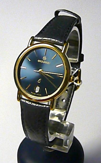 Dámské švýcarské luxusní hodinky Grovana 3219.1215 na kůži s tmavě modrým čísel. (3219.1215)