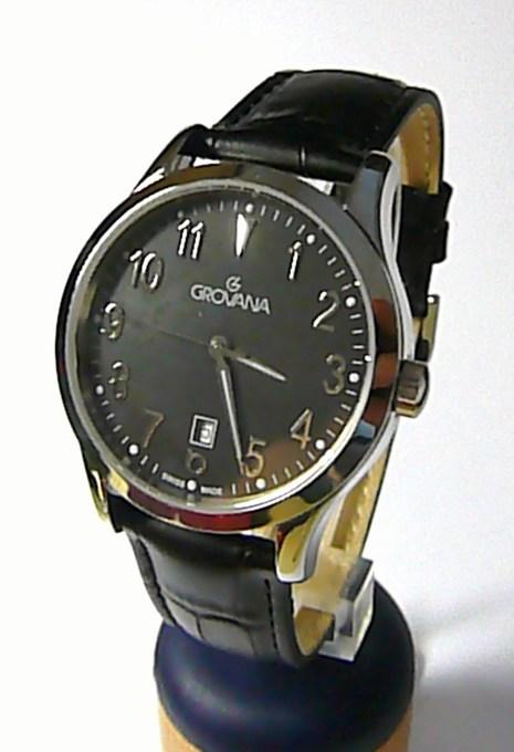 Luxusní pánské švýcarské hodinky Grovana 1204.1534 se safírovým sklem na kůži (1204.153)