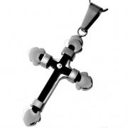 Velký černý ocelový křížek - přívěsek z chirurgické oceli 313427 (313427)