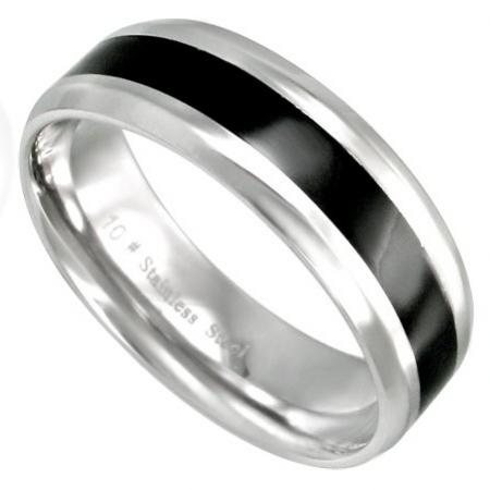 Prsten z chirurgické oceli s černým proužkem 316L 312486/18