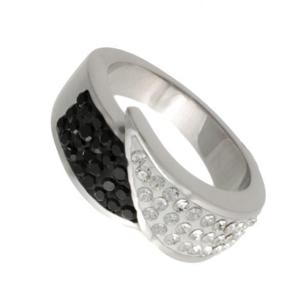 Luxusní prsten z chirurgické oceli 316L s černými a bílými zirkony 312383/16