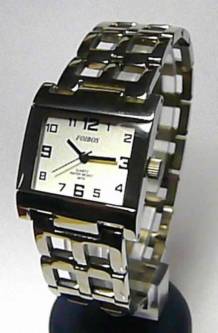 Stříbrné titanové dámské hranaté hodinky Foibos 2087 3ATM (Foibos 2087)