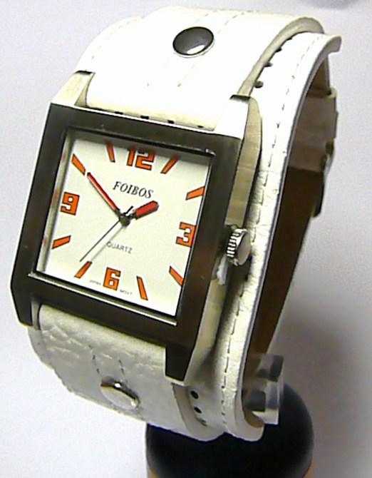 Velké hranaté mohutné bílé dámské hodinky Foibos 2524 s oranžovými číslicemi (Foibos 2524)