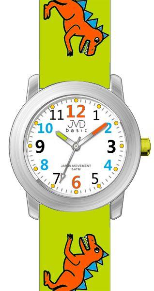 Dětské zelené náramkové hodinky JVD basic J7123.2 s pravěkým raptorem