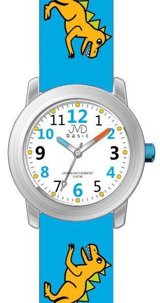 Dětské modré náramkové hodinky JVD basic J7123.3 s pravěkým raptorem