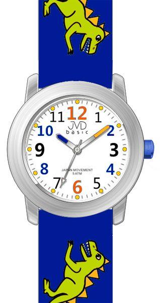 Dětské modré náramkové hodinky JVD basic J7123.1 s pravěkým raptorem 5ATM