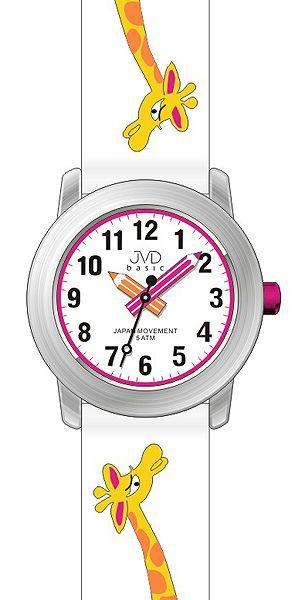 Dětské holčičí bílé náramkové hodinky JVD basic J7121.3 s žirafkou 5ATM