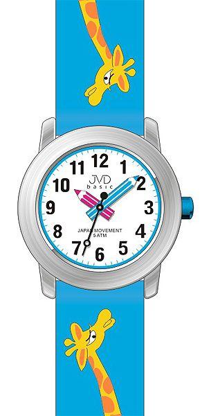 Dětské holčičí modré náramkové hodinky JVD basic J7121.2 s žirafkou 5ATM