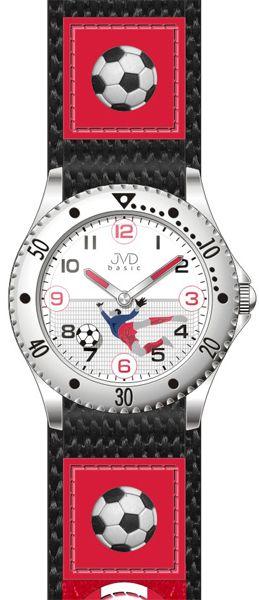 Červeno-černé chlapecké náramkové hodinky JVD basic J7071.2 s fotbalistou
