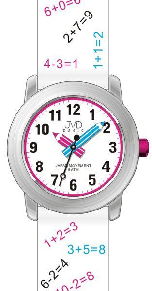 Dětské bílé náramkové hodinky JVD basic J7120.3 s tahákem pro děti :-) 5ATM