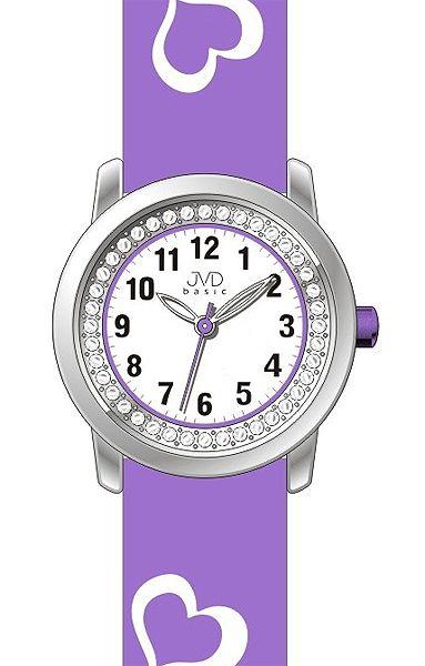 Fialové dětské dívčí náramkové hodinky JVD basic J7119.1 se srdíčky