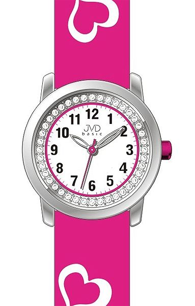 Růžové dětské holčičí hodinky JVD basic J7119.3 se srdíčky