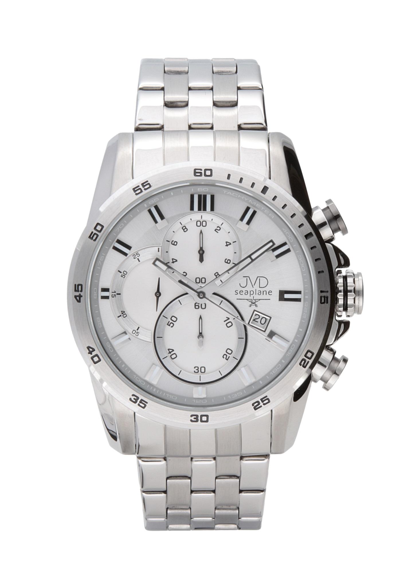 256d090940d Ocelové vodotěsné chronografy náramkové hodinky JVD seaplane JS22.2 10ATM