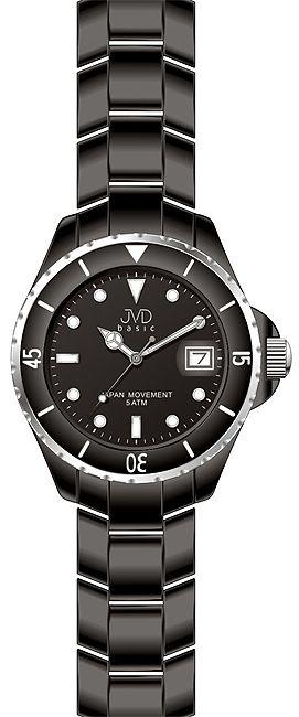 Černé moderní náramkové hodinky JVD basic J6004.1 5ATM