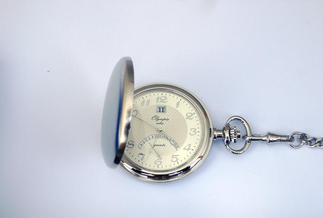 Stříbrné luxusní Olympia kapesní hodinky 35001 s řetízkem v ceně