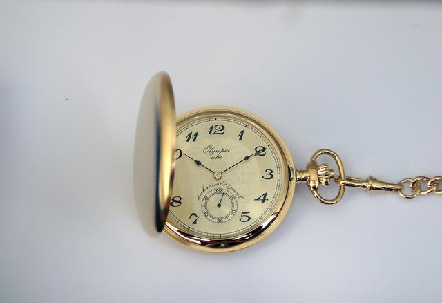 Zlaté luxusní Olympia kapesní hodinky 35033 s arabskými číslicemi