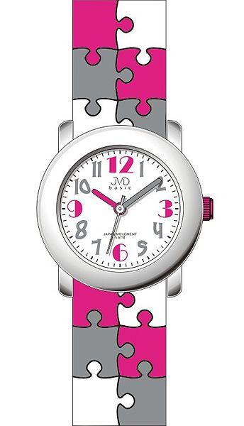Dětské barevné náramkové hodinky JVD basic J7124.1 s motivem PUZZLE