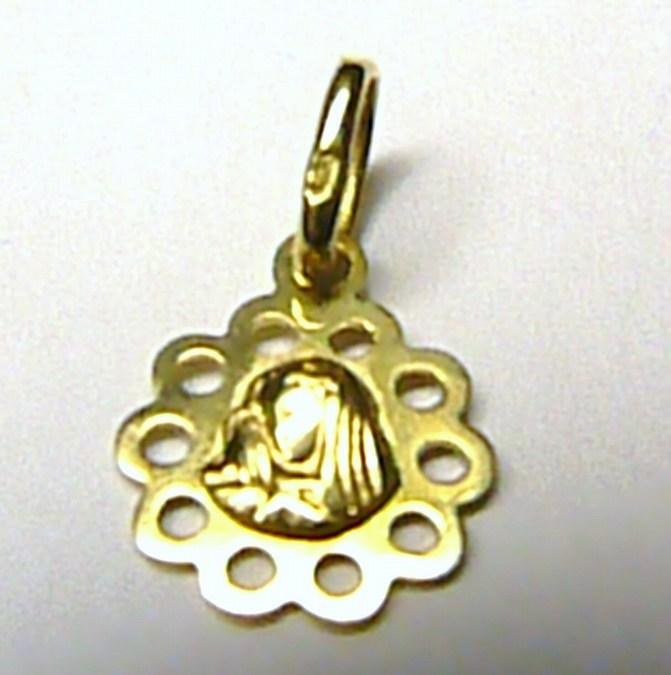 Zlatý přívěsek - zlatá madonka průměr 10mm 585/0,45gr S098 (24106000001)
