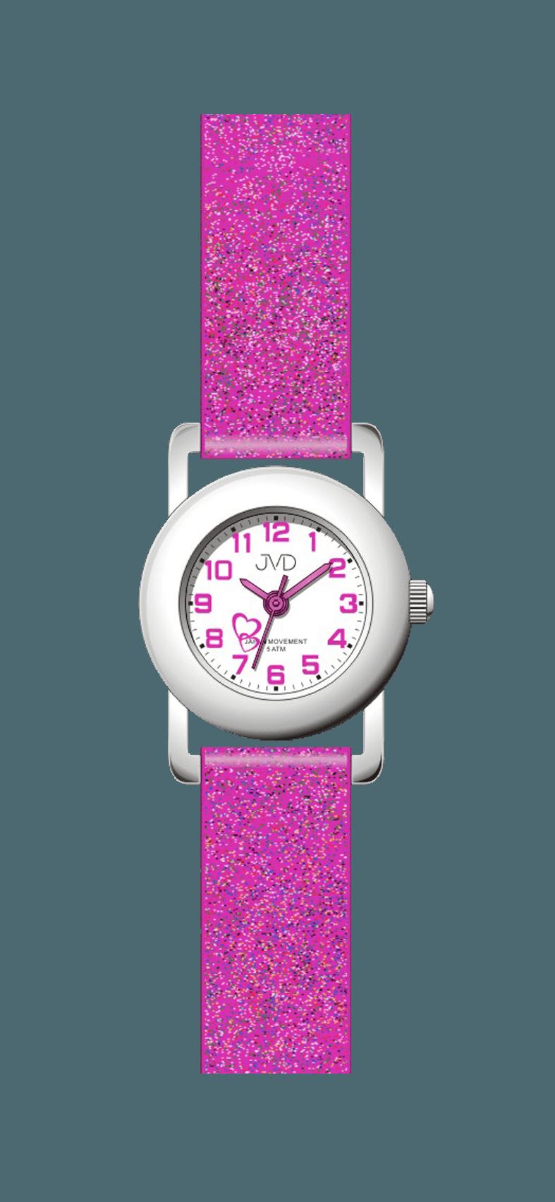 Dětské růžové náramkové hodinky JVD basic J7025.6 se srdíčkem