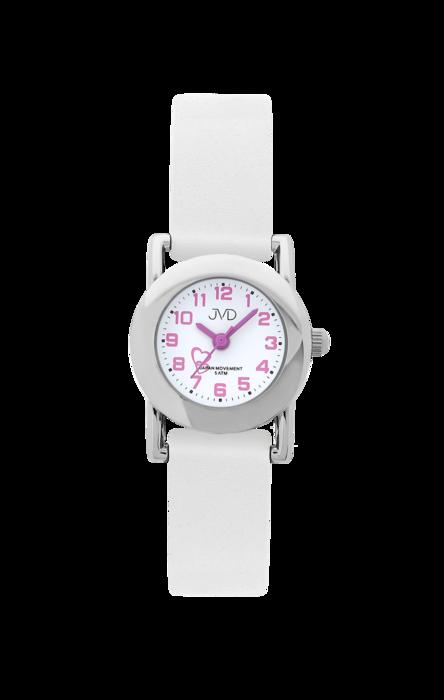 Dětské bílé náramkové hodinky JVD basic J7025.4 se srdíčkem