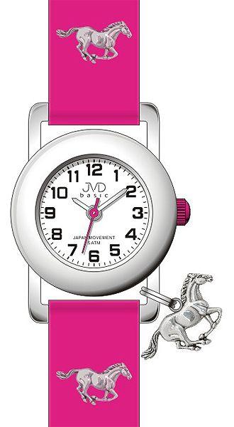 Růžové dětské náramkové hodinky JVD basic J7095.4 s motivem koně 5ATM