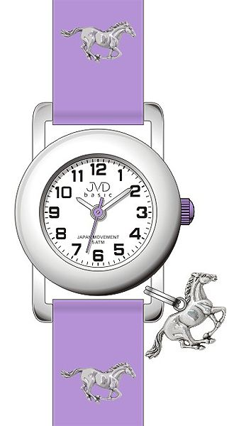 Fialové dětské náramkové hodinky JVD basic J7095.5 s motivem koně 5ATM