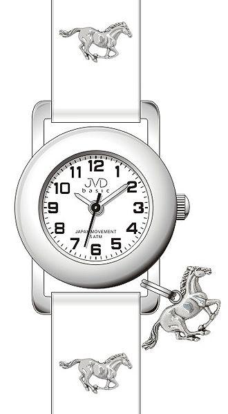 Bílé dětské náramkové hodinky JVD basic J7095.6 s motivem koně 5ATM