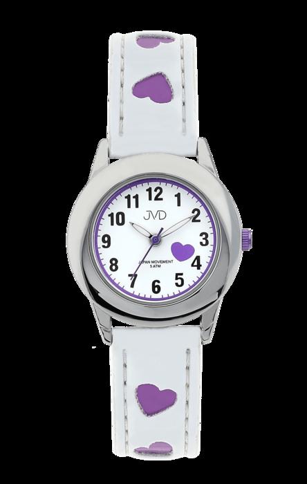 Dětské náramkové hodinky JVD basic J7125.2 s fialovými srdíčky