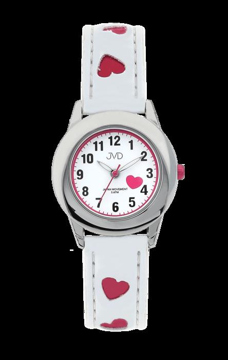 Bílé dětské náramkové hodinky JVD basic J7125.1 s růžovými srdíčky