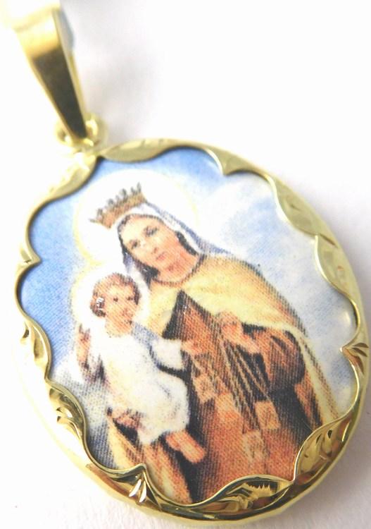 Zlatá smaltovaná madonka s dítětem ze žlutého zlata 585/3,25gr 3320162 (3320162 - POŠTOVNÉ ZDARMA)