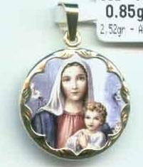 Luxusní zlatý přívěsek - smaltovaná madonka s dítětem - 585/2,67gr 3320046 (3320046-0-0-0)