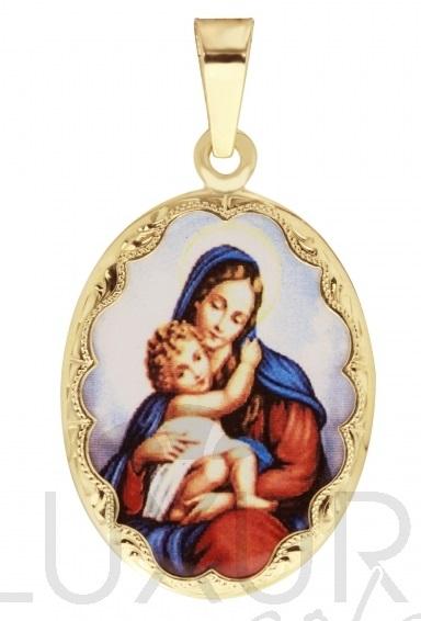 Zlatý přívěsek - zlatá smaltovaná madonka s dítětem ze zlata 585/3,52gr 3320065 (3320065 - POŠTOVNÉ ZDARMA)