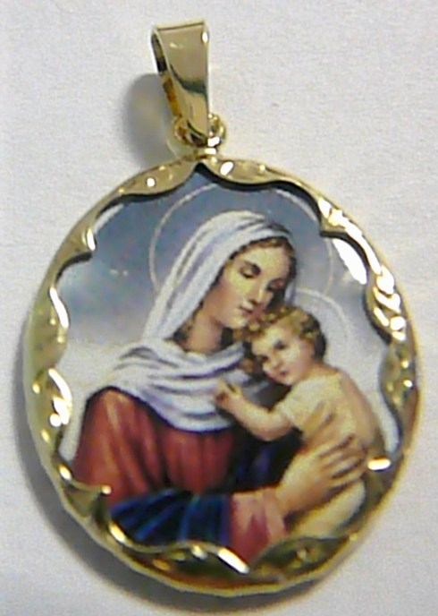 Zlatý přívěsek - zlatá smaltovaná madonka s dítětem 585/3,72gr 3320066 (3320066 )