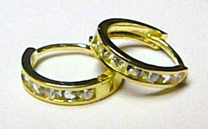 Dámské zlaté náušnice - zlaté kruhy se zirkony (14 ks) 585/1,02 gr P114