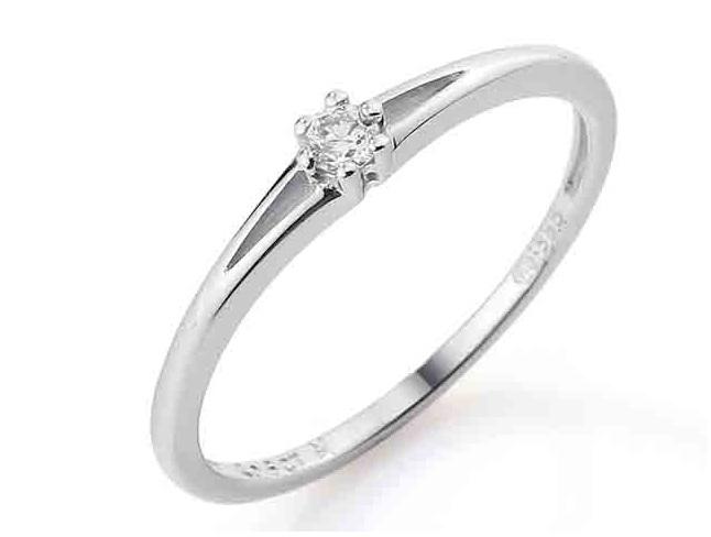 Zásnubní prsten s diamantem, bílé zlato brilianty 585/1,25 gr DIAMANT Sl / H (3860065-0-51-99)