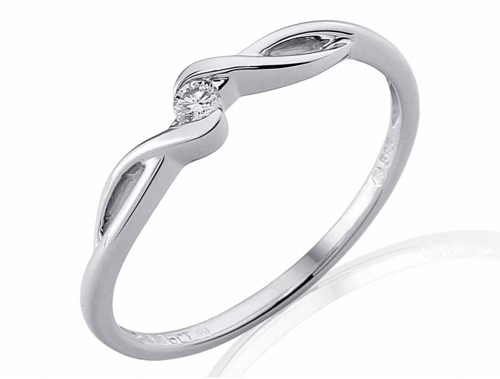 Zásnubní prsten s diamantem z bílého zlata a diamantem 585/1,5 gr - briliant (3860702-0-54-99)