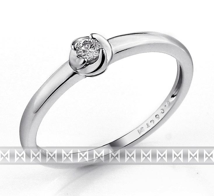 Zásnubní dámský zlatý prsten z bílého zlata s diamantem (briliant) 1,5gr 0,06ct (3861319-0-53-99)