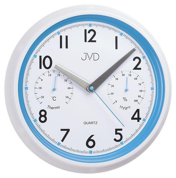 Modro - bílé tiché nástěnné hodiny JVD sweep HA1.1 s teploměrem a vlhkoměrem