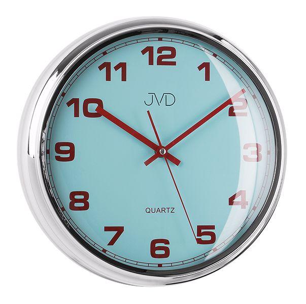 Luxusní modré nástěnné hodiny JVD sweep HA4.1 (kovový vzhled)