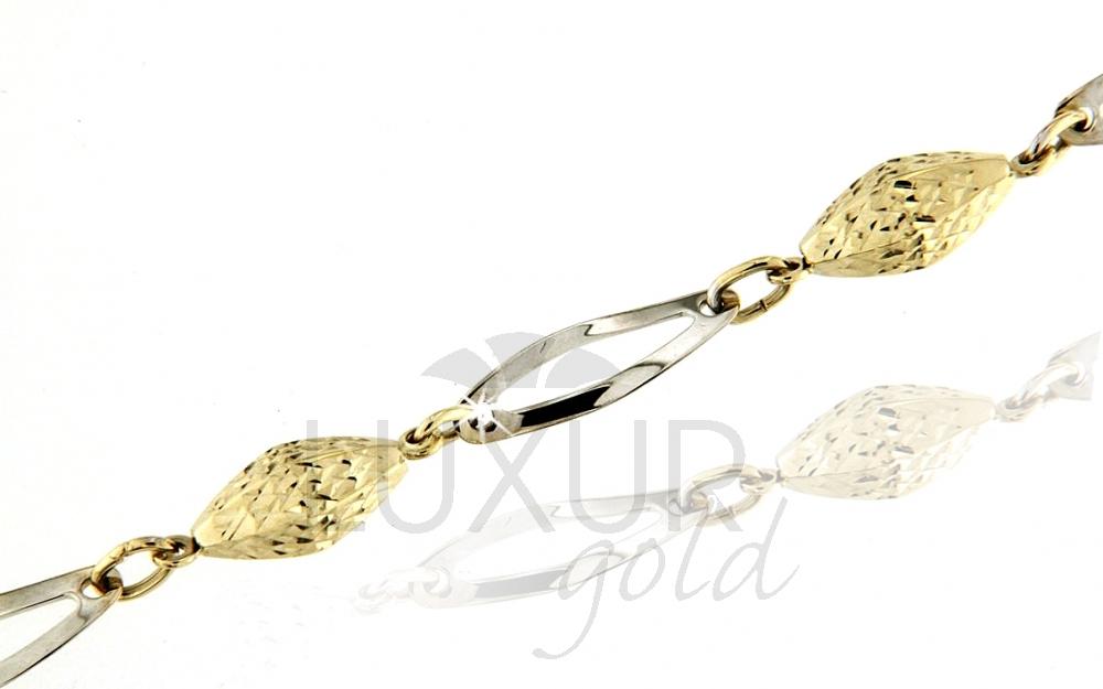 Mohutný velký zlatý dámský náramek z bílého a žlutého zlata 18cm 585/2,57gr (1440612-5-18-0)
