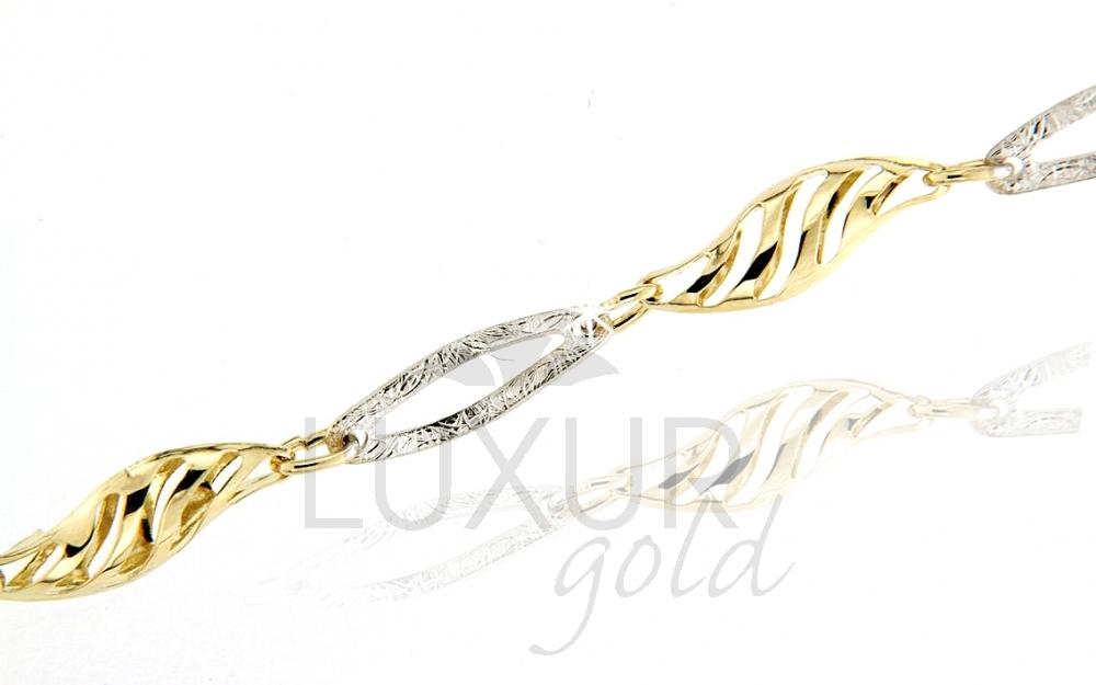 Mohutný velký zlatý dámský náramek z bílého a žlutého zlata 17cm 585/2,55gr (1440615-6-17-